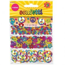 60's Tie Dye Peace Sign Confetti 34g